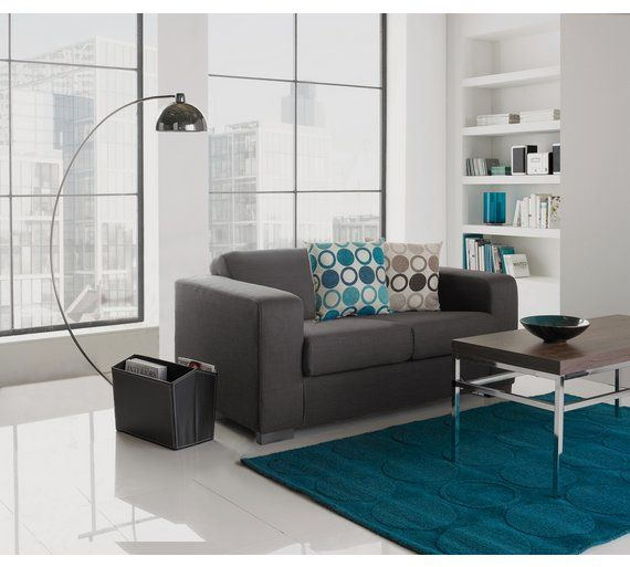 Home Ava Compact 2 Seater Fabric Sofa Charcoal In 2020