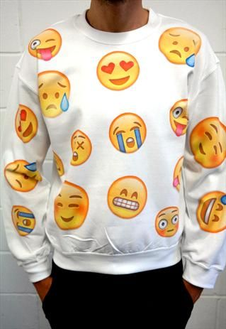 Emoji sweater https://www.marketplace.asos.com/listing/sweatshirts/white-emoji-face-sweatshirt/1921461#tab=0