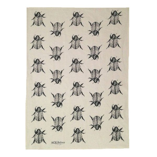 Black Christmas beetle linen tea towel (off-white or natural)