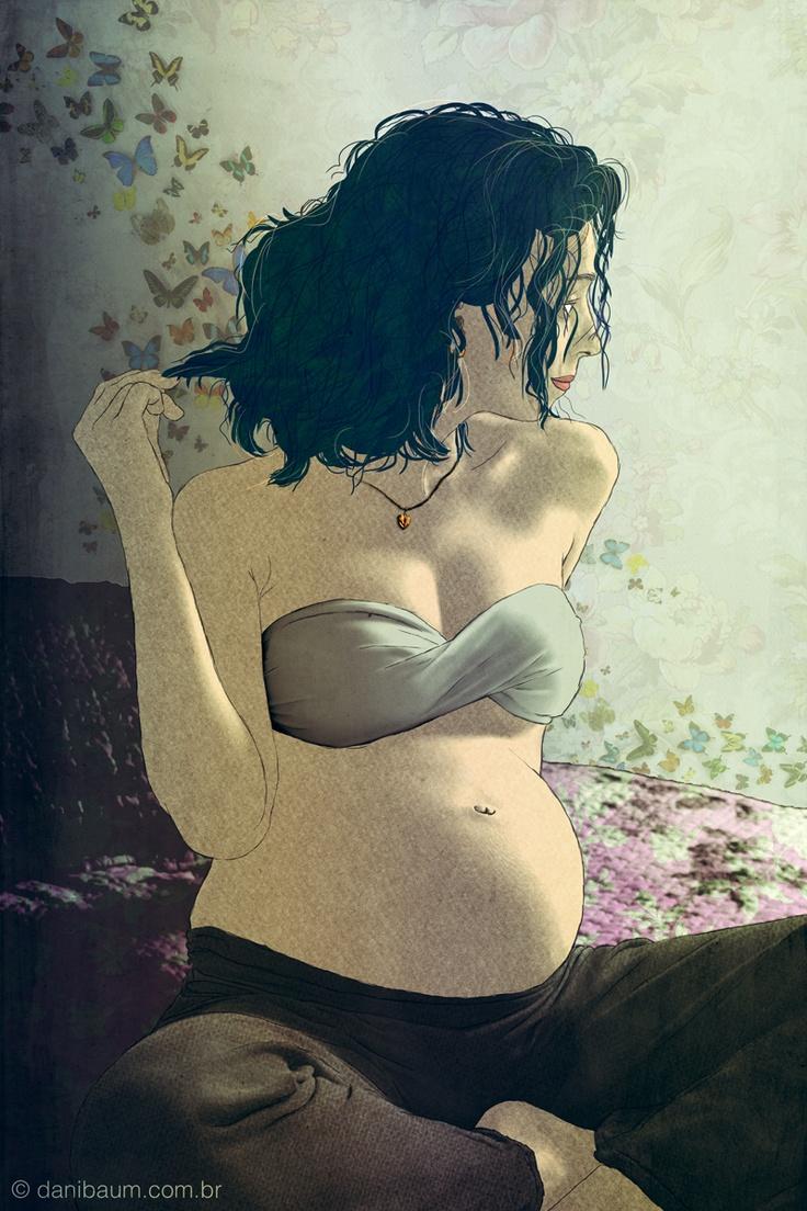 Беременная девушка картинка нарисованная