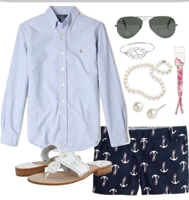 Summer uniform: preppy shorts, button up, and pearls