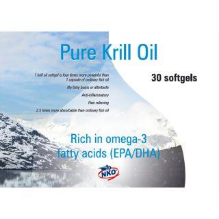 Neptune Pure Krill Olie - 30 softgels  Een zeer schone visolie gemaakt van zuivere krill die in de onvervuilde oceanen rond Antarctica leeft. Rijk aan omega-3 vetzuren (EPA en DHA), bevat fosfolipiden, astaxanthine en vitamine A en E.