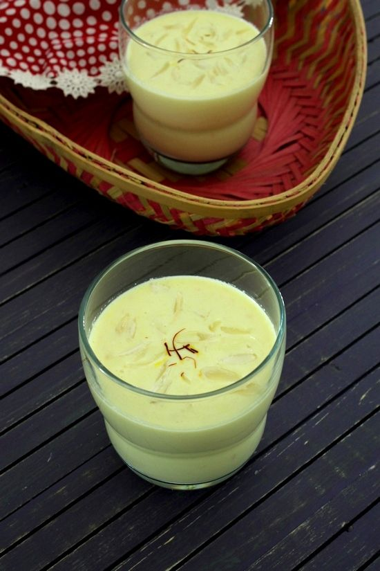 Badam milk recipe or kesar badam milk – Very refreshing and nourishing drink recipe. It is thickened with almond paste and flavored with saffron.