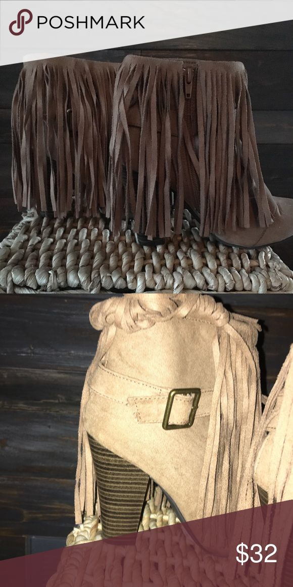 Fringe bootie Beige boots with a buckle detail Qupid Shoes Ankle Boots & Booties