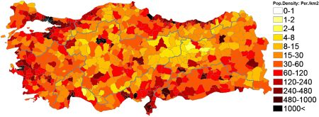 Population density (administrative boundaries) map of Turkey.Türkiye Nüfus Yoğunluğu.Подробная карта плотности населения Турции