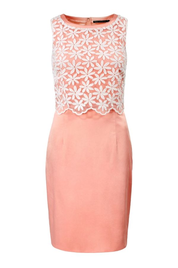 Mouwloze jurk met bloementop Zalm