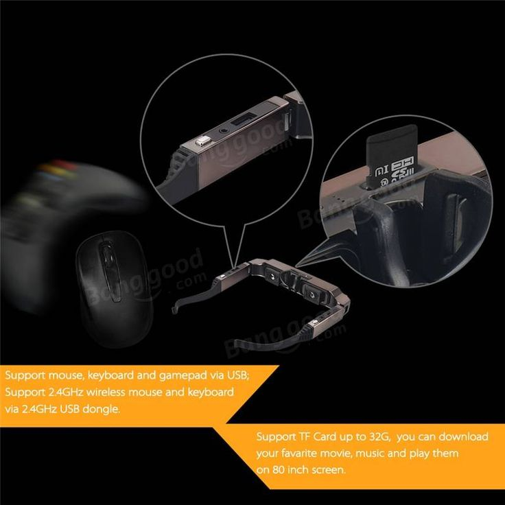 VISION-800 3D Goggles Video Glasses Android 4.4 MTK6582 1G/2G 5MP AC WIFI BT4.0 2060P MIC