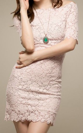 [US$26.92] - Sexy Dresses Short Sleeve Round Neck Lace Short Lace Solid Body-Con Dresses - 29052 : FoxFriday.com