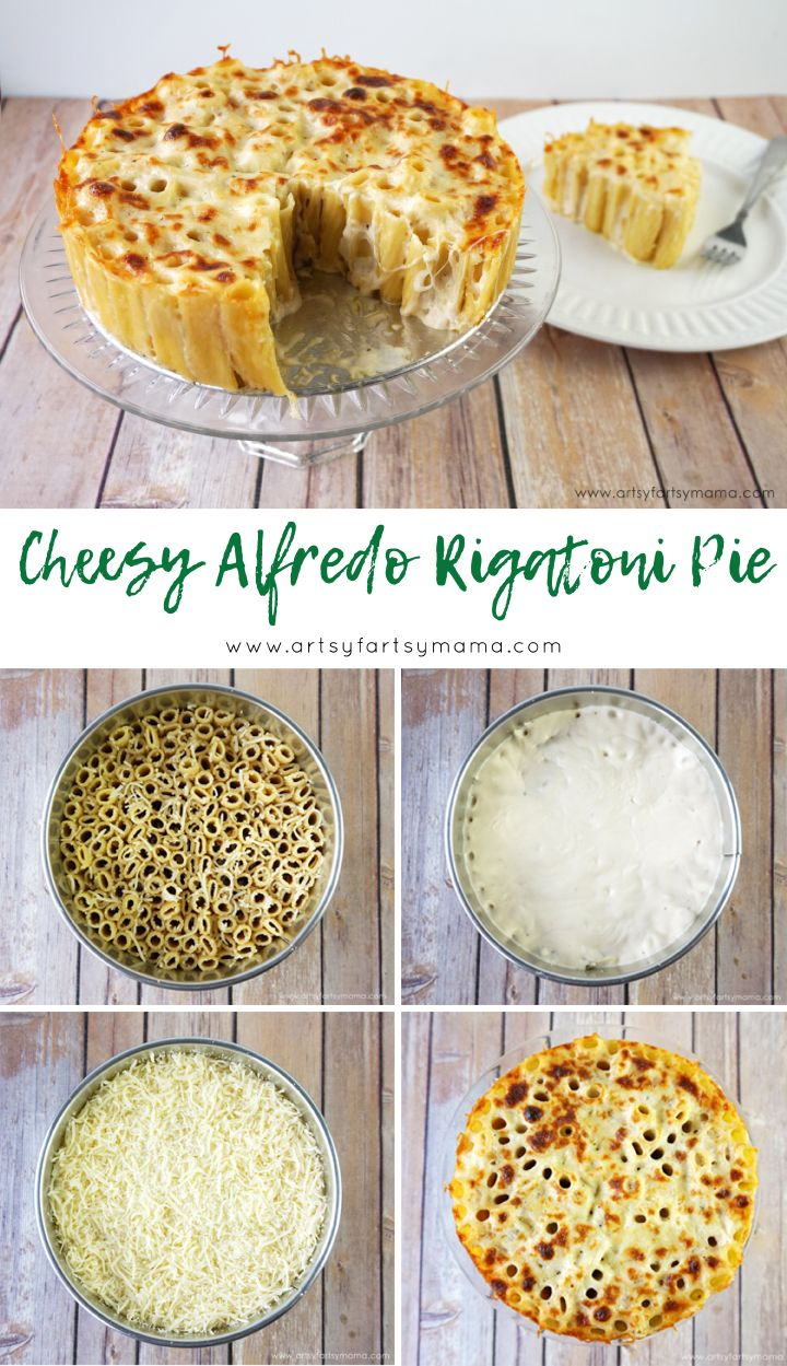 Make some Cheesy Alfredo Rigatoni Pie for a romantic night in and download a free printable card! @barillaus #StayInWithBarilla ad