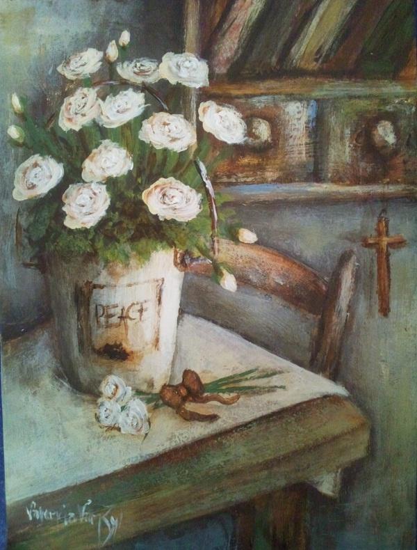 White roses - Canvas - Artist - Valencia Van Zyl