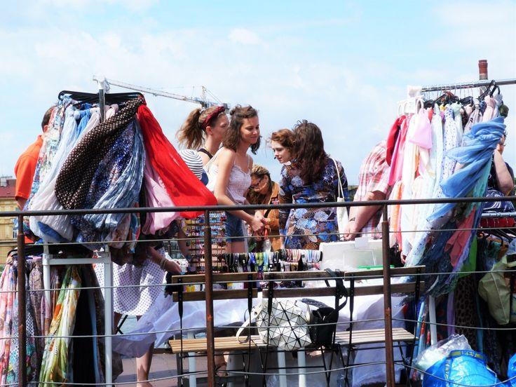 The floating flea market on the boat at the Náplavka market.