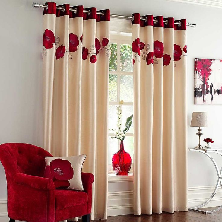 Living Room, Wonderful Modern Red Themed Living Room Window Curtain Designs  And Red Arm Chair