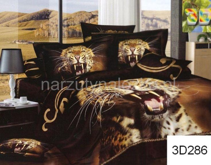 Pościele brązowe na łóżko z groźnym gepardem