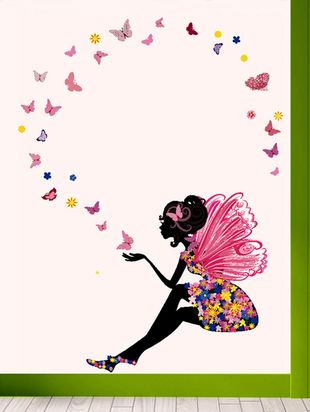 Fairy With Butterflies Wall Sticker - Online Shopping for Wall Decals & Stickers