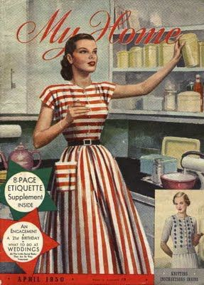 1950s housewife in a red stripe dress full skirt white belt short sleeves vintage fashion style - but even more important ... the 8 page etiquette book! Had to be a 'proper' lady.