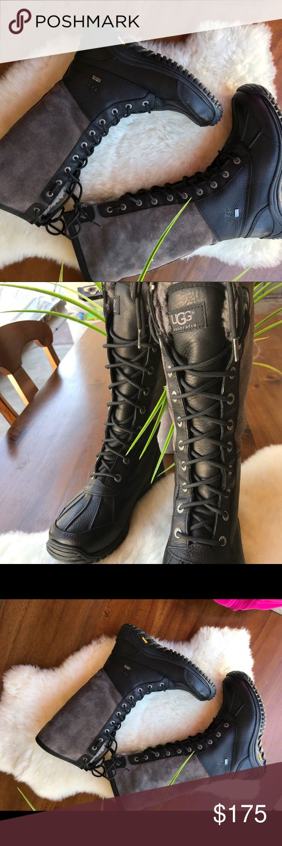 🔥🔥UGG Adirondack Tall Black/Gray Boots Sz 7.5🔥 UGG Adirondack Tall Black/Gray B Sz 7.5, waterproof and wind proof, the shaft height on these measures approximately 12 inches, they stand up to winter, sleet, rain, and freezing temperatures, true to size, Fully lined SKU # 8392631. MSRP $294.95 UGG Shoes Ankle Boots & Booties