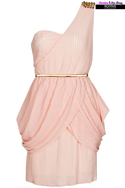 ROMWE | Riveted Shoulder Pink Dress, The Latest Street Fashion #RomwePartyDress