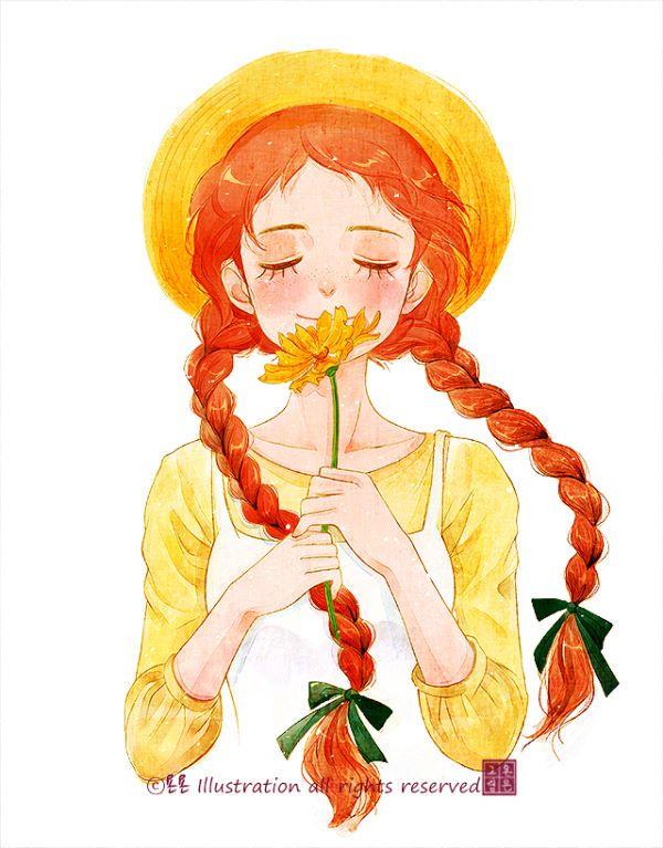 """따사로운 여름, 눈을 감았을때 어디선가 문득 불어오는 시원한 바람을 만났을때- 또는 무더운 여름밤, 열어놓은 창문으로 찾아오는 바람과 만났을때- 그런때에 느끼는 상쾌한 그 느낌을 좋아해요. 사랑스런 앤이 들고 있는 꽃은 여름 코스모스로도 불리우는 """"금계국""""이에요. 금계국의 꽃말은 """"상쾌한 기분""""이라고 해요~:) ⓒ욘욘 Illustration all rights reserved http://blog.naver.com/wedding83"""