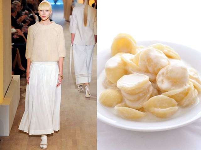 Hermes ss 2012 / Orecchiette with fresh creamy burrata cheese and anchovy drops