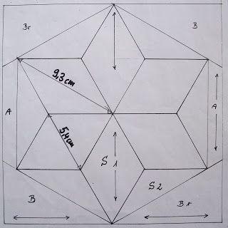 Hier wie versprochen am 4. Advent die Anleitung für eine sechs zackigen Stern. Von einem Stern-Block habe ich von einer Zacke eine Schablone...