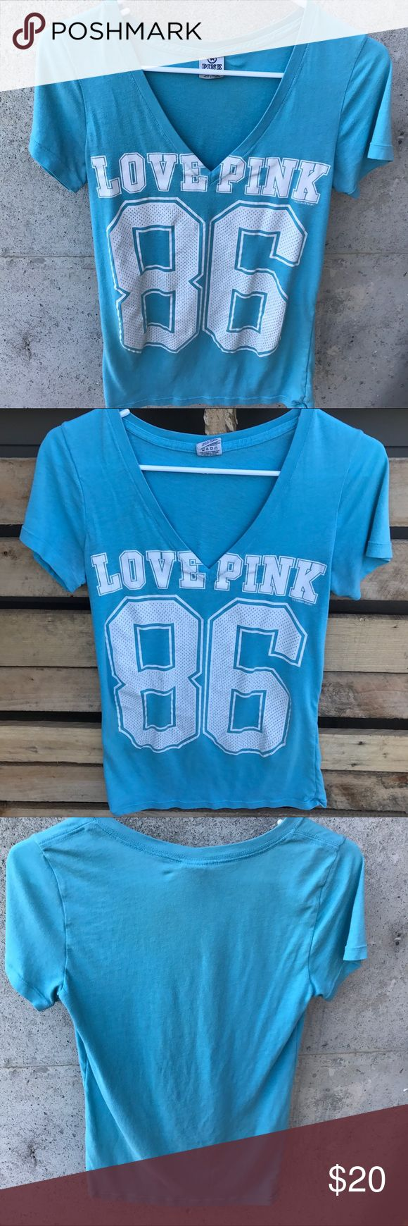 Victoria's Secret Pink V neck blue & white Tee! Victoria's Secret Pink short sleeve V neck blue and white Tee! Size Small in Excellent condition! PINK Victoria's Secret Tops Tees - Short Sleeve