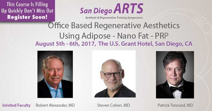 San Diego Aesthetic and Regenerative Training Symposium Hands-on Cadaver Master Class on  Office-Based Regenerative Aesthetic Procedure  using Adipose-NanoFat-PRP Saturday and Sunday, August 5-6th, 2017  US Grant Hotel San Diego, California
