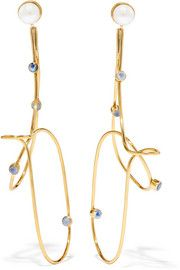 Gold-plated pearl and moonstone earrings
