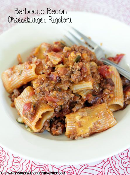 Barbecue Bacon Cheeseburger Rigatoni! What?!?! Why didn't I think of this! I am a huge fan of fusion recipes! Delicious...smoky, cheesy, savory goodness! I will add a few dashes of Tabasco! Mmmm!