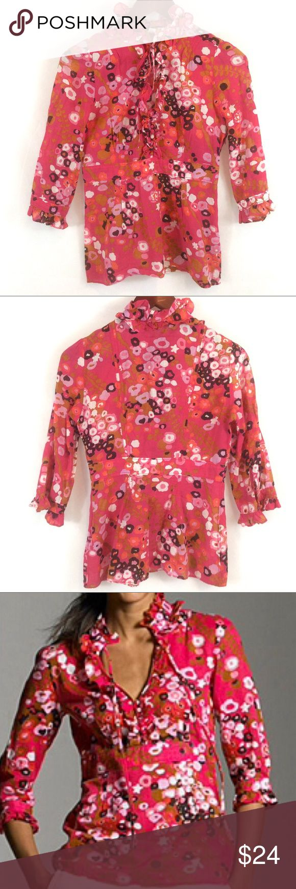"""J Crew Frances Cherry Blossom Blouse J. Crew Women's Frances Cherry Blossom half sleeve top Pullover discreet side zipper. High Ruffle neckline with tie option. High waist. Cotton Ramie blend, feels like a thin Linen.  Fantastic condition, you may mistake for brand new.  Labeled a size 4, exact measurements: Bust: 34"""" Length: 25"""" Waist: 28""""  ---> Would also look great on an XS <--- RN 77388 Style 91804 J. Crew Tops Blouses"""