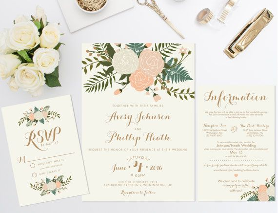 Printable Wedding Invitation Bundle // Floral Invite // Vintage wedding invitation // Natural Rustic Wedding Invitation // DIGITAL