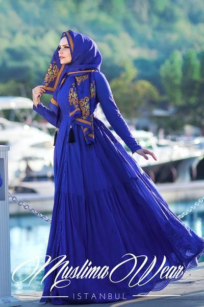 PURE COTTON EMBROIDERY DRESS ROYAL BLUE