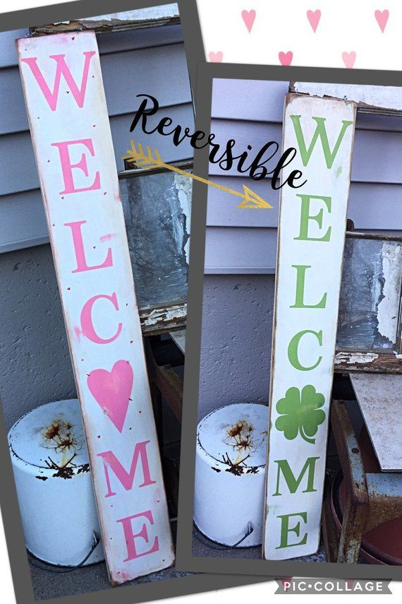 reversible sign valentines st patricks day standing porch decor pallet wooden wo…