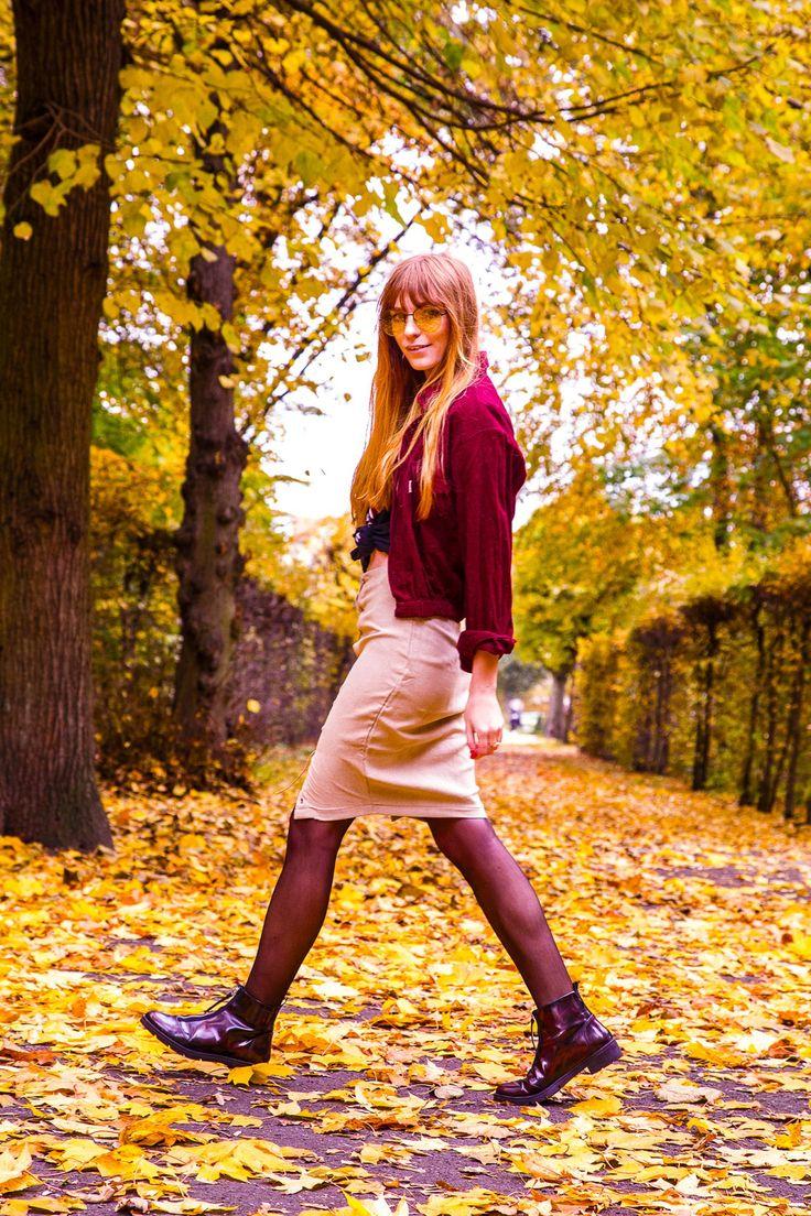 Autumn colors street style, oxblood cord jacket, beige suede midi skirt