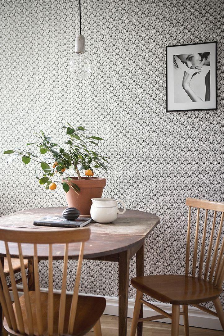 cuisine avec papier peint graphique | Skandinavisches ...