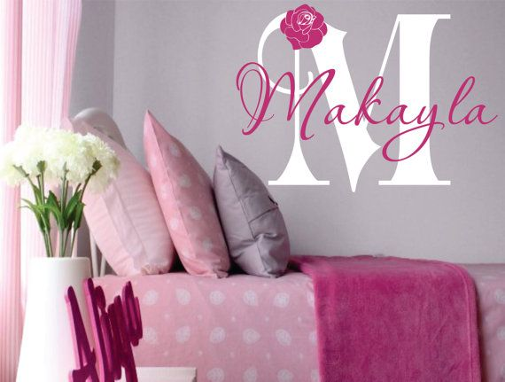 Custom Name Decal  Rose Shabby Chic Initial and by SignJunkies, $39.95