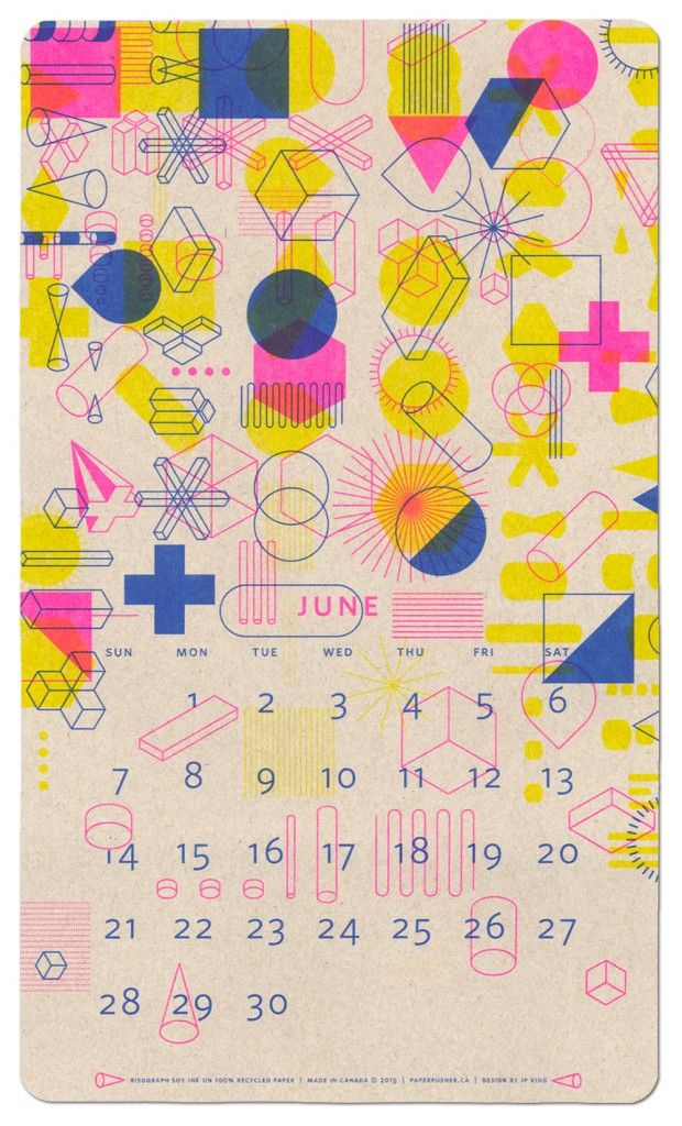 New Years gift: Fluorescent coloured 2015 calendar by JP King