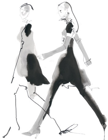 David Downton - Fashion Illustrator Research I really like the simplicity of this, no detailing or neat lines and you can see the media David used was ink or black paint and he must've used water to make it spread like that and create that smudged look which I like.