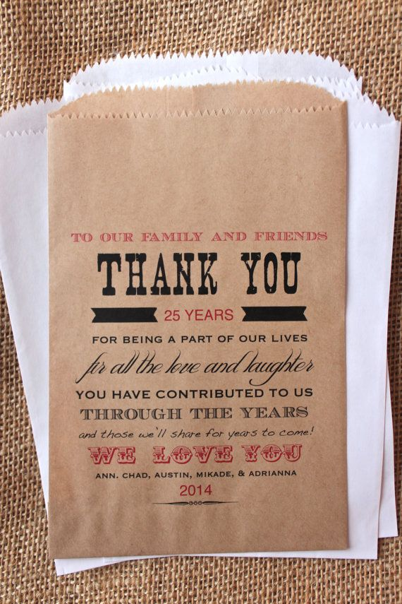 Anniversary Favor Bags Candy Buffet Bags by RootedManor on Etsy, $13.75