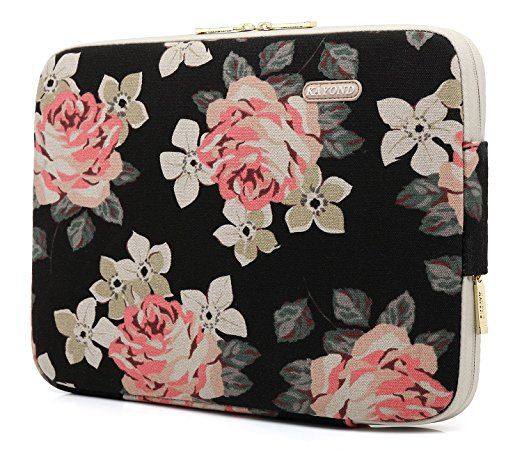 KAYOND Rose Pattern 14 inch Canvas laptop sleeve with pocket 14 inch 14.1 inch laptop case Macbook Pro 15.4 A1707: Amazon.ca: Electronics