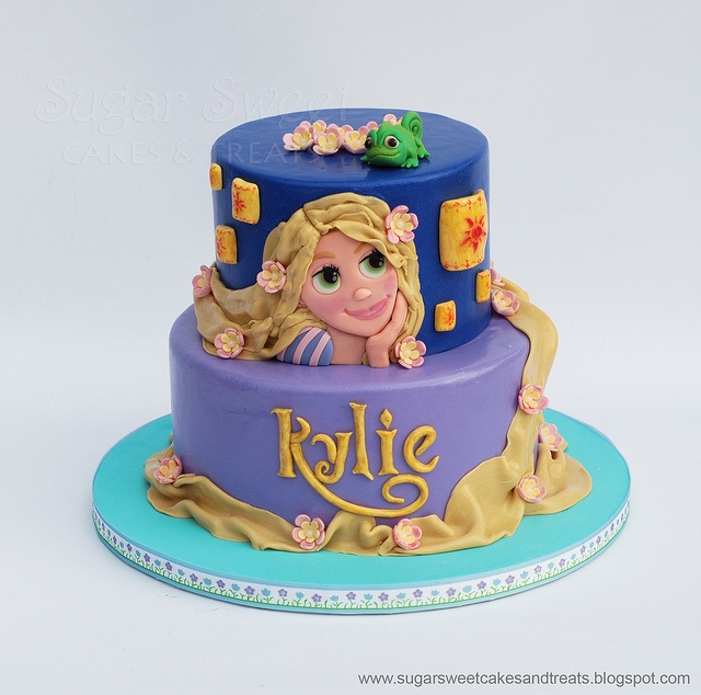 Tangled Rapunzel Cake with Chameleon Pascal by Angela Tran (Sugar Sweet Cakes and Treats)
