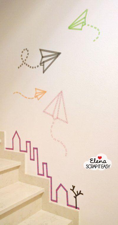 "wall decor paper ""washi"" plane"