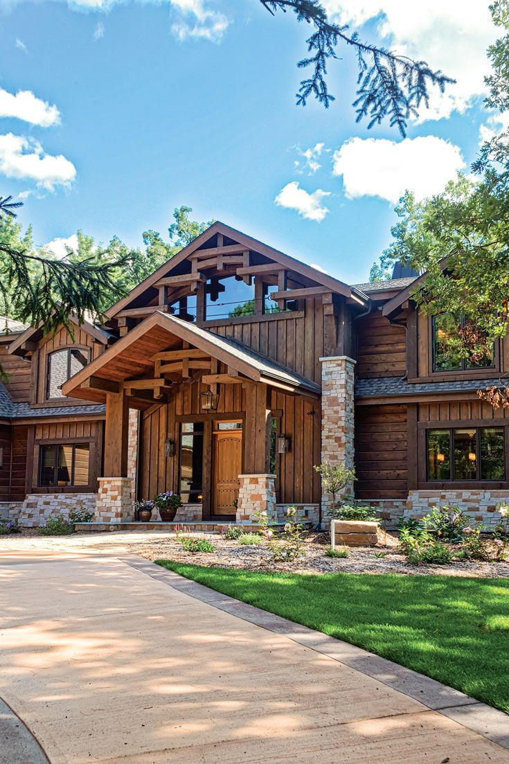 This Log And Timber Hybrid Home Is The Ultimate Gathering Spot Log Homes Exterior Timber Architectural Features