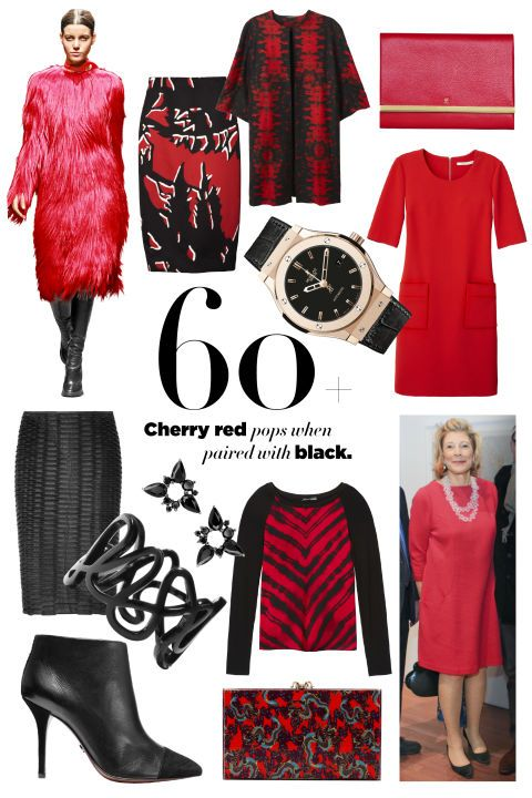 Cherry red pops when paired with black. STYLIST'S TIP: A red extra has as much impact as head-to-toe color. Marni skirt, $780, 212-257-6907; Josie Natori coat, $795, natori.com; CH Carolina Herrera clutch, $465, 310-276-8900; Hublot watch, price upon request, 212-308-0408; Diane von Furstenberg dress, $368, dvf.com; Fernando Jorge earrings, $2,330, barneys.com; Cédric Charlier skirt, $995, Nordstrom; 800-695-8000; Kenneth Cole Productions sweater, $118, kennethcole.com; Repossi ring, $3,600…