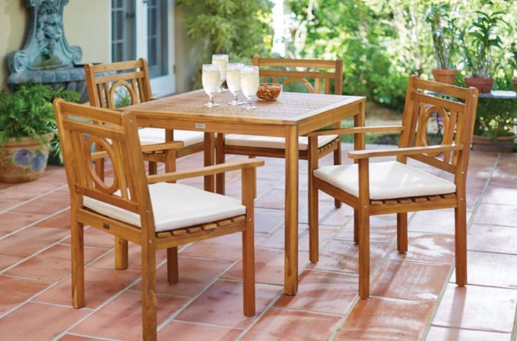 Patio Dining Set Outdoor Furniture Garden Coffee Table Pool Chair Teak Wood 5 Pc #Unbranded