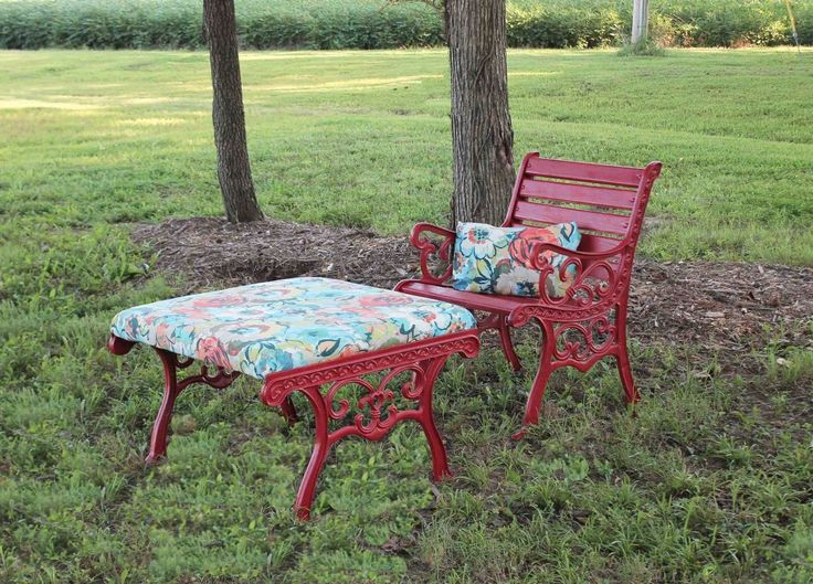 iron bench table into chair ottoman diy outdoor furniture painted furniture