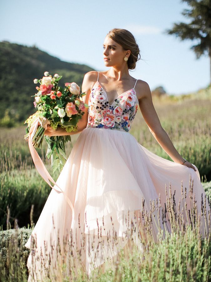 Bride in a colorful Hayley Paige wedding gown // Romantic engagement shoot in a lavender field