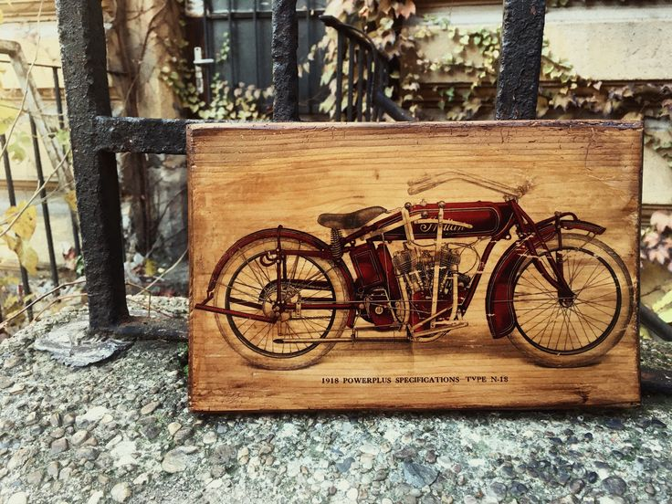 Excited to share the latest addition to my #etsy shop: Vintage Indian Powerplus Motorcycle Engine Home Decor Wall Decor Wooden Picture Garage Art