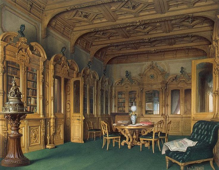 Interiors of the Mansion of Baron A. L. Stieglitz.  The Library /  Luigi Premazzi, 1869-1872