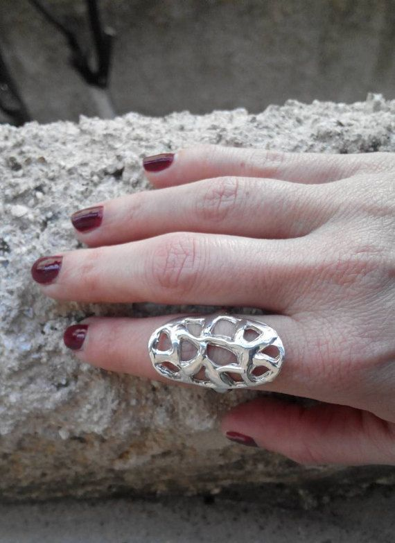 Handmade silver ring .Melted ring Big ring Statement