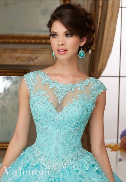 Simples Do Aqua Vestidos Quinceanera Barato Alta neck Lace Appliqued Vestido Para Festa de 15 anos Vestido